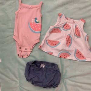 Watermelon outfit set of three